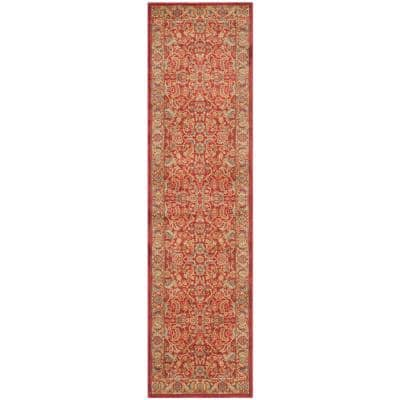 Mahal Red/Natural 2 ft. x 10 ft. Border Floral Antique Runner Rug
