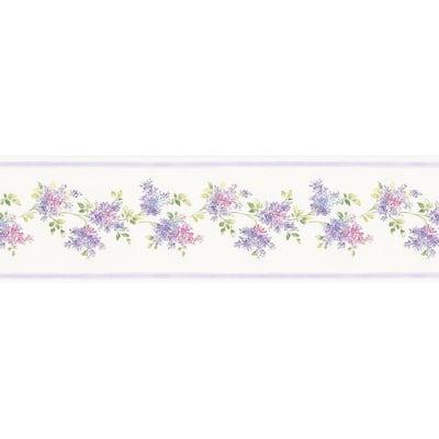 Lilac Purple, Pink, Blue Wallpaper Border