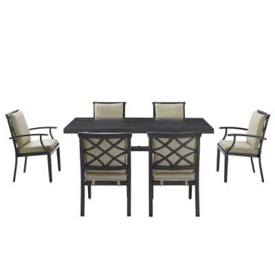 Alonso 7-Piece Metal Outdoor Dining Set with Beige Cushions