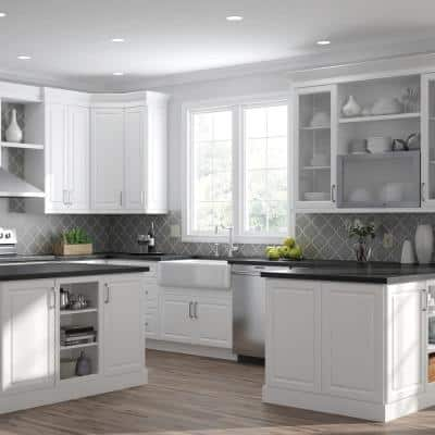 Designer Series Elgin Assembled 33x34.5x23.75 in. Full Height Door Base Kitchen Cabinet in White