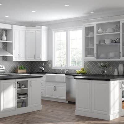 Designer Series Elgin Assembled 30x18x15 in. Deep Wall Bridge Kitchen Cabinet in White