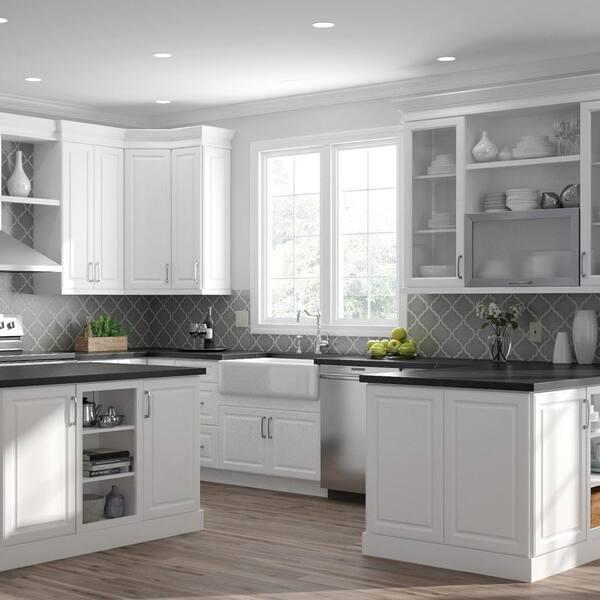 Hampton Bay Designer Series Elgin Assembled 15x30x12 In Wall Open Shelf Kitchen Cabinet White Wos1530 Elwh The Home Depot