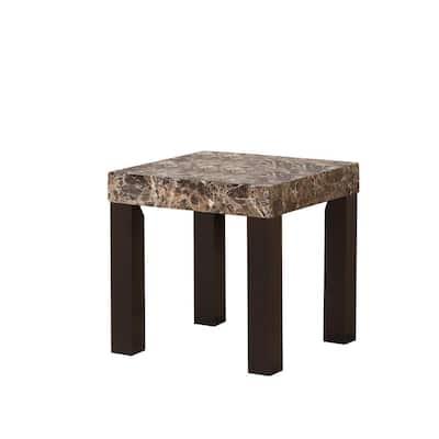 21.5 in. Dark Marnee Faux Marbelized Granite Side End Table