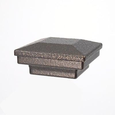 2 in. x 2 in. Antique Bronze Aluminum Flat Pyramid Post Cap