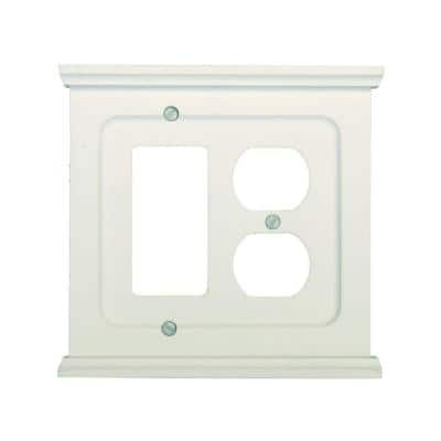 Mantel 2 Gang 1-Duplex and 1-Rocker Wood Wall Plate - White