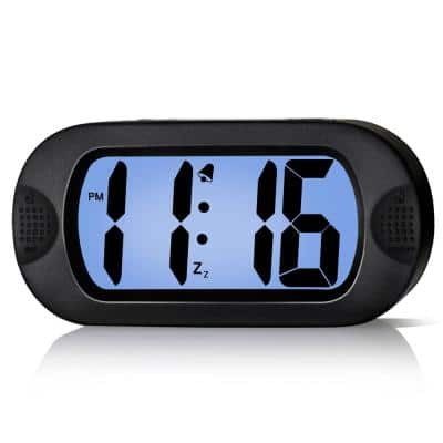 Black LCD Digital Alarm Clock with Snooze Function and Backlight - Battery Powered
