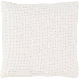 Lesley Cream Solid Polyester 20 in. x 20 in. Throw Pillow