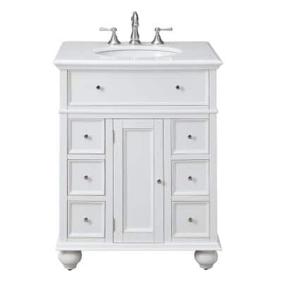 Hampton Harbor 28 in. W x 22 in. D Bath Vanity in White with Natural Marble Vanity Top in White