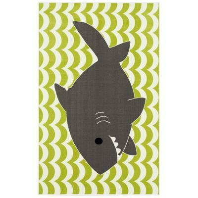 Smiling Shark Green 5 ft. x 8 ft. Whimsical Area Rug