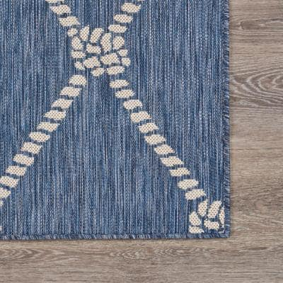 Nautical Navy Blue / White 7 ft. 6 in. x 9 ft. 5 in. Knot Polypropylene Indoor/Outdoor Area Rug