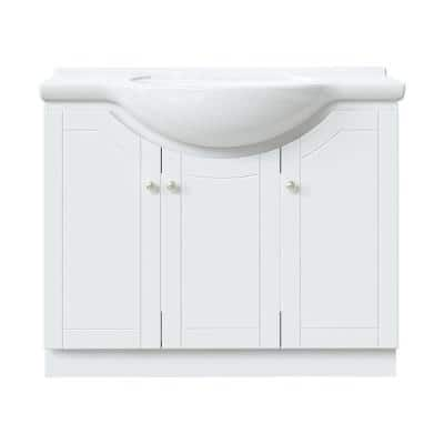 Highmont 41 in. W x 17-5/8 in. D Vanity in Linen White with Porcelain Vanity Top in Solid White with White Basin