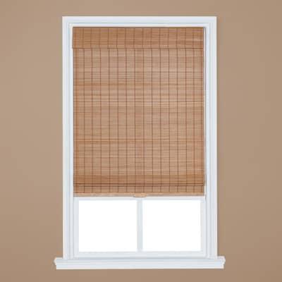 Light Oak Cordless Bamboo Roman Shade 34 in. W x 64 in. L
