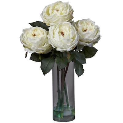 18 in. H White Fancy Rose with Cylinder Vase Silk Flower Arrangement