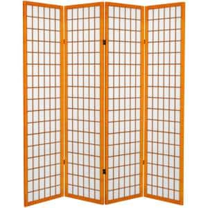 6 ft. Honey Canvas Window Pane 4-Panel Room Divider