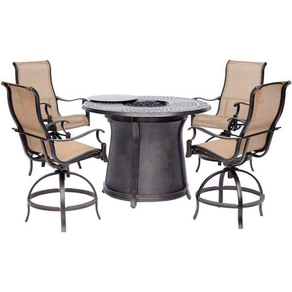Hanover Manor 5 Piece Aluminum Outdoor Fire Pit Chat Set With Round Bar Table Man5pcfprd Br The Home Depot