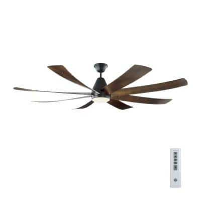 Kingston 72 in. Integrated LED Indoor/Outdoor Matte Black Ceiling Fan with Dark Walnut Blades with DC Motor and Remote