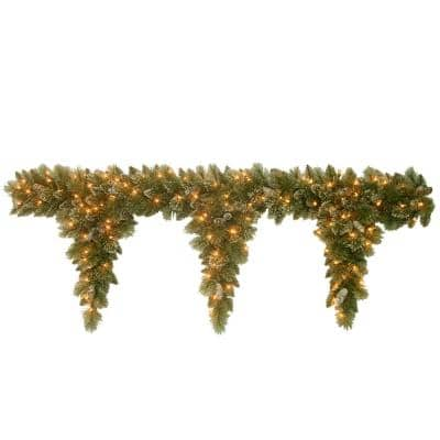 6 ft. Glittery Bristle Teardrop Garland with Clear Lights