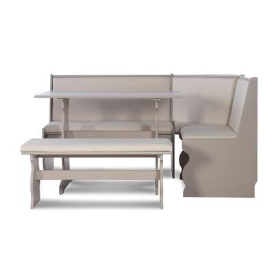 Nina Grey Nook with Corner Seating and Bench