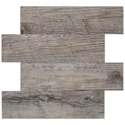 12.79 in. x 13.58 in. Metal and Composite Peel and Stick Backsplash in Silver Wood