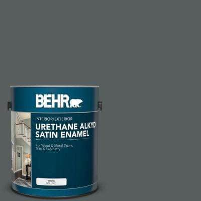 1 gal. #N500-6 Graphic Charcoal Urethane Alkyd Satin Enamel Interior/Exterior Paint