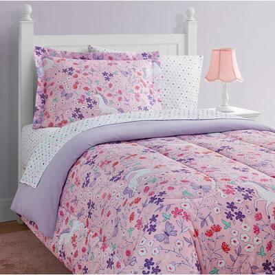 Unicorn Floral Pink 11-Pieces Comforter Set-Full