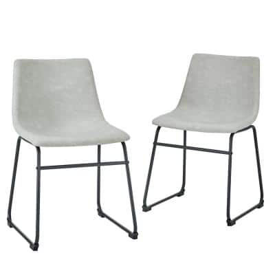 """18"""" Industrial Faux Leather Dining Chair, set of 2 - Grey"""