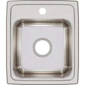 Lustertone 18 Gauge Stainless Steel 15 in. 1-Hole Drop-in Bar Sink in Satin