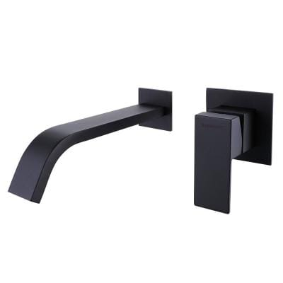 Single Handle Wall Mounted Bathroom Faucet with Waterfall in Matte Black