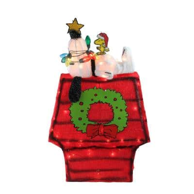 27 in. Christmas Pre-Lit Peanuts 3-Dimensional Snoopy Outdoor Decoration with Star