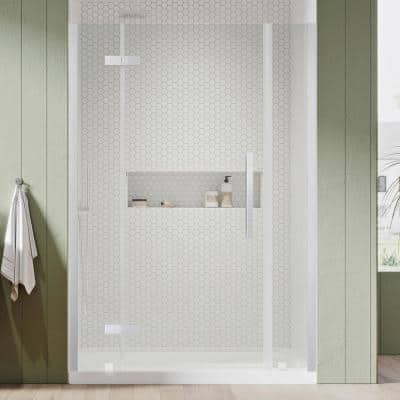 Tampa 54 in. L x 32 in. W x 72 in. H Alcove Shower Kit with Pivot Frameless Shower Door in Chrome and Shower Pan