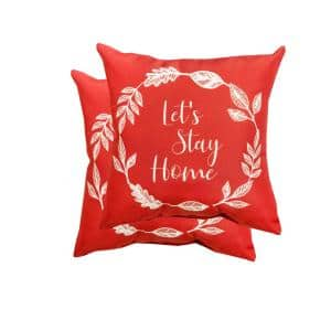 16 in. Let's Stay Home Square Outdoor Throw Pillow (2-Pack)