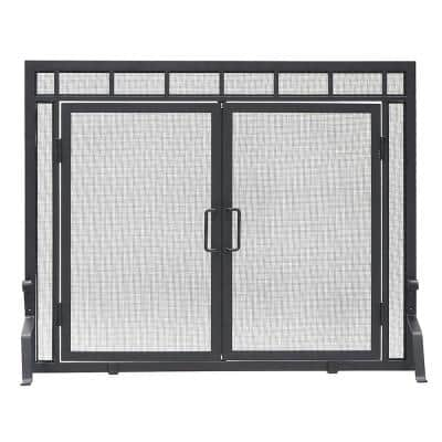 39 in. L Matte Black 1-Panel Sidelight Classic Fireplace Screen with Doors
