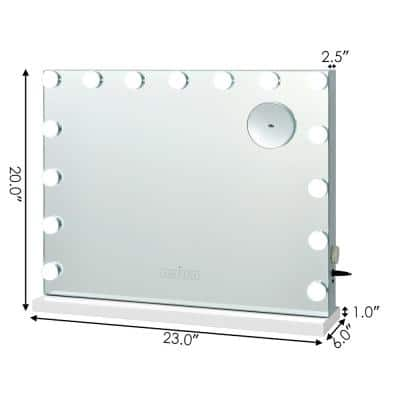 Wall 23 in. W x 20 in. H Frameless Square Lighted Mirror Touch Control Bathroom Vanity Mirror in White