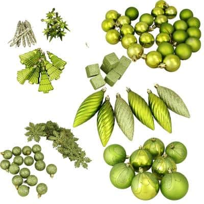 Club Pack of Shatterproof Tropical Green Kiwi Christmas Ornaments (125-Piece)