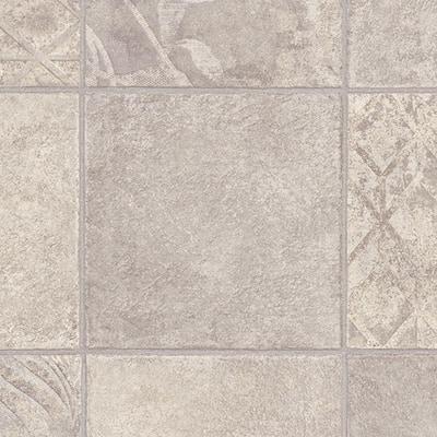 Marbella Tile Grey Ceramic Residential Vinyl Sheet Flooring 13.2ft. Wide x Cut to Length