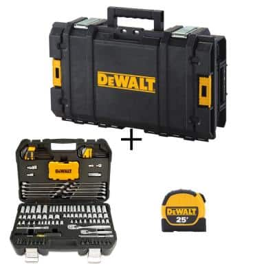 Mechanics Tool Kit Set (142-Piece) with Case & Bonus TOUGHSYSTEM 22 in. Small Tool Box & 25 ft. x 1-1/8 in. Tape Measure