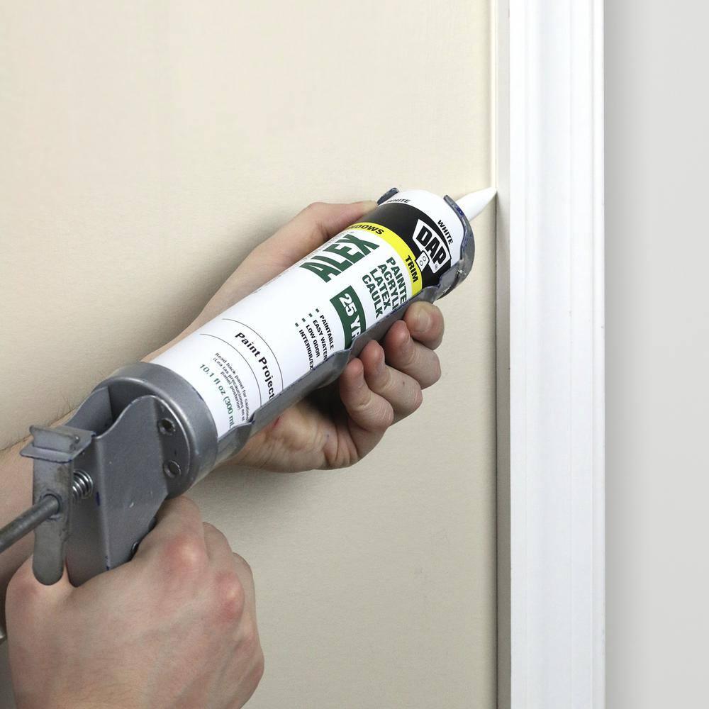 Dap Alex Painter S 10 1 Oz White All Purpose Acrylic Latex Caulk 18609 The Home Depot