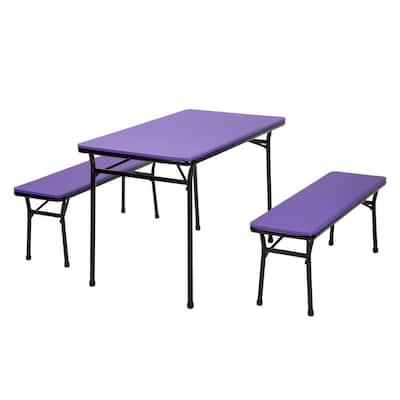 3-Piece Purple Portable Outdoor Safe Folding Table Bench Set
