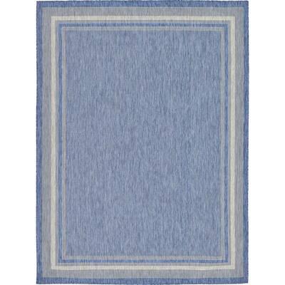 Outdoor Soft Border Blue 9' 0 x 12' 0 Area Rug