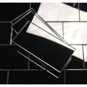 Reflections Silver Straight Edge Subway 3 in. x 6 in. Glass Mirror Wall Tile (14 sq.ft./Case)