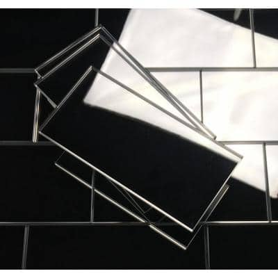 Reflections Silver Straight Edge Subway 3 in. x 6 in. Glass Mirror Wall Tile (14 sq. ft. / case)