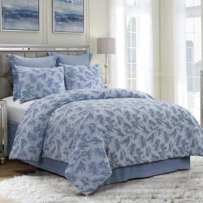 Almaria 3-Piece Blue Cotton King Comforter Set