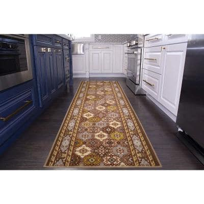 """Bakhtiari Design Cut to Size Taupe Color 31.5"""" Width x Your Choice Length Custom Size Slip Resistant Runner Rug"""