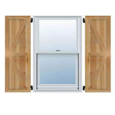 "16-1/8"" X 47""Timbercraft Rustic Wood Three 5-3/8""Framed Board and Batten Shutters with Z-Bar Rough Sawn Cedar(pair)"