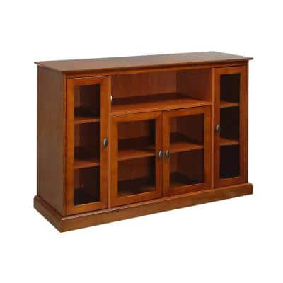 Summit 52 in. Cherry Highboy TV Stand Fits up to 55 in. TV with Storage Cabinets
