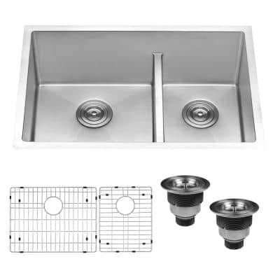 28 in. Low-Divide Double Bowl 60/40 Undermount Tight Radius 16-Gauge Stainless Steel Kitchen Sink