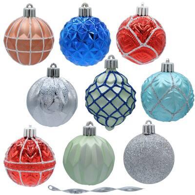 Snowtop Dazzle 60 mm Assorted Ornament Set (101-Count)