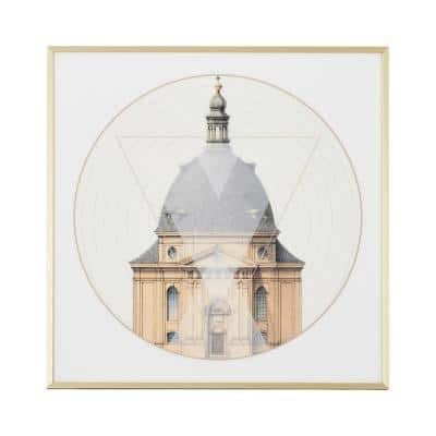 24 in. L x 24 in. W Gold Frame Geometric Architecture 'No. 1' Print Wall Art
