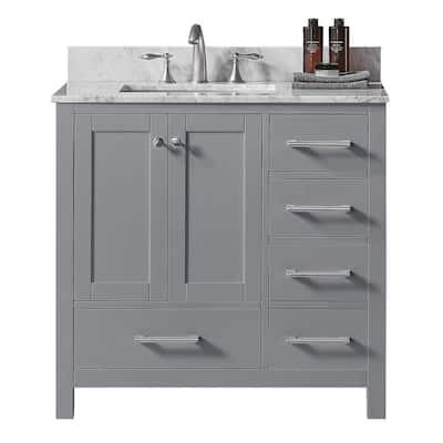 Colette 36 in. W x 22 in. D x 34.2 in. H Bath Vanity in Taupe Grey w/ Carrara Marble Vanity Top in White w/ White Basin