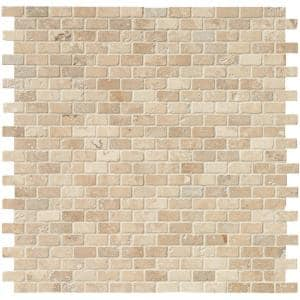 Chiaro Brick 12 in. x 12 in. x 10 mm Tumbled Travertine Mosaic Tile (10 sq. ft. / case)